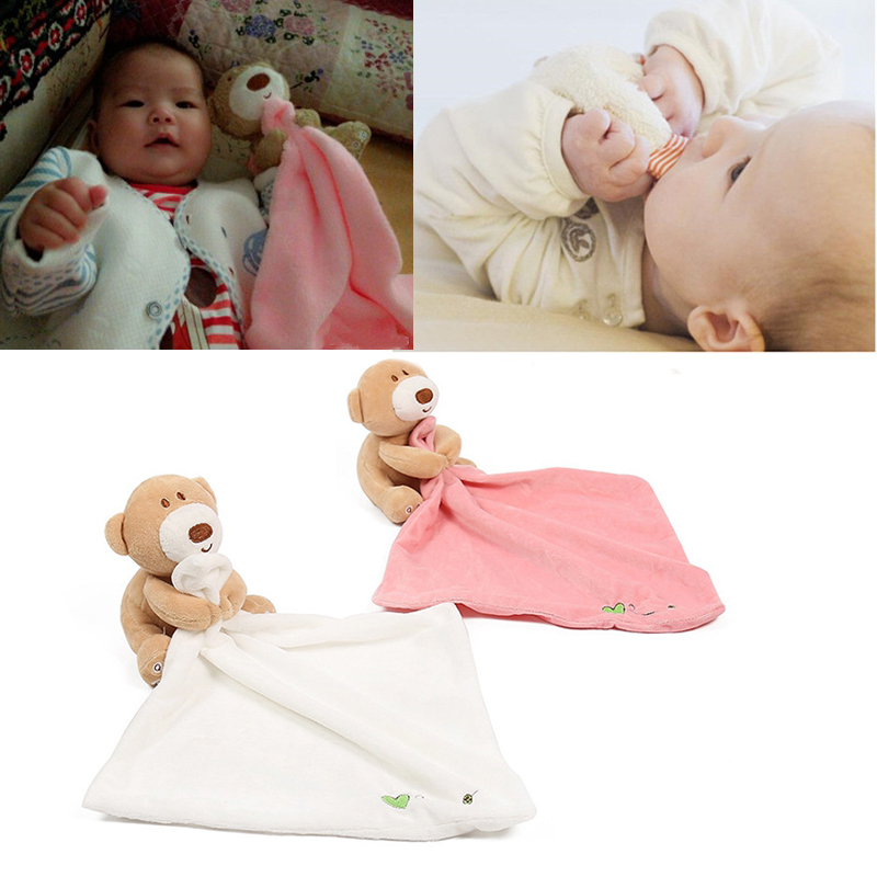 Newborn Baby Toys Cute Bear Scarf Handkerchief appease Towel Rattles Crap Doll Gift For Soothe Calm Towel Educational Plush Toy free shipping plush baby toys appease infants teddy appease towel grasping rattles bb multi functional brinquedos para bebe