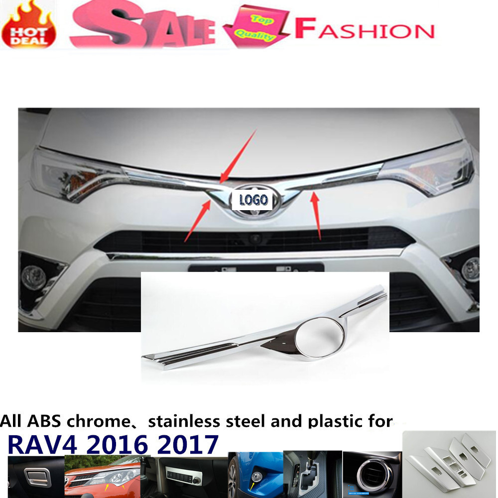 Car body ABS chrome Lamp trim head Front Grid Grill Grille racing Strip frame panel 1pcs for Toyota New RAV4 2016 2017  цены онлайн