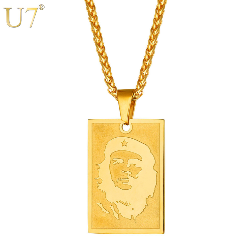 U7 Cuba Che Guevara colgante con retrato collar revolucionario de la joyería de los hombres de oro/Color plata marxismo collares P1129