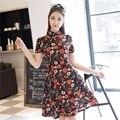 Frete grátis manga curta vestido tradicional chinês tradicional das mulheres clothing fishtail cheongsam qipao vestido floral