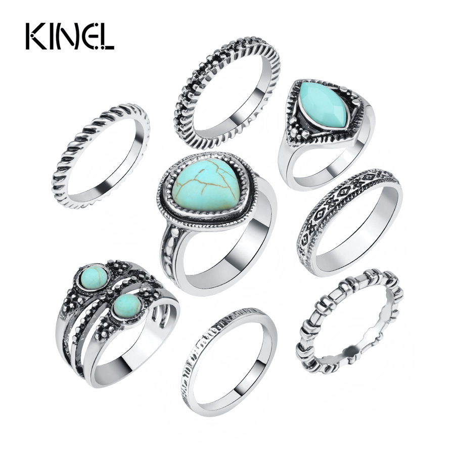 Hot 8Pcs/Sets Bohemian Ring Jewelry For Women Antique Silver Color Beach Midi Knuckle Rings Sets Cheap Sell 2017 New