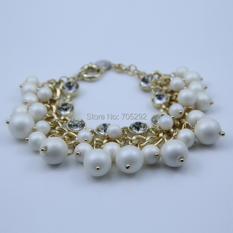 2015 Fashion Imitation Pearl  Hang On Multilayer Link Chain Bracelet Free Shipping