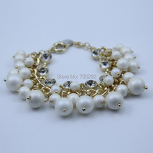 Fashion Imitation Pearl Hang On Multilayer Link Chain Bracelet