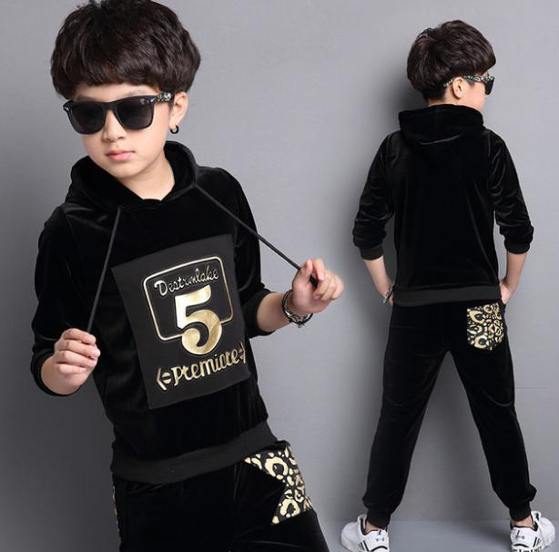 6 12 year old baby's clothes Autumn and Winter 2017 new boy's children's gold stamped suit kid children boys clothing