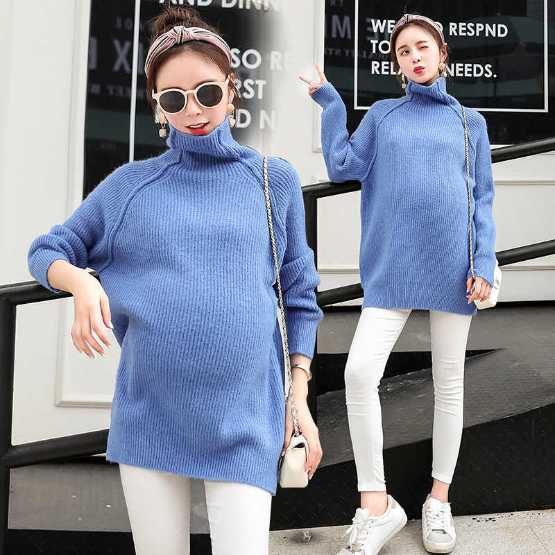 Pregnant Women Winter And Autumn Turtleneck Solid Bat Sleeve Elastic Solid Knitted Long Sweater Maternity Clothes Pregnancy Tops