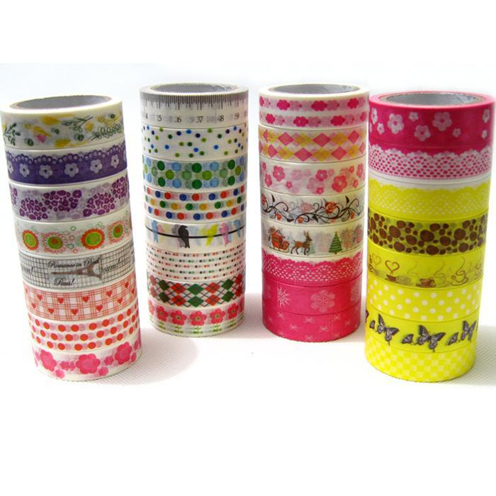 10pcs/lot Newest High Quality Paper Masking Tape Flower Dots Lace Tower Adhesive Tape Mixed Design DIY Sticker Wholesale