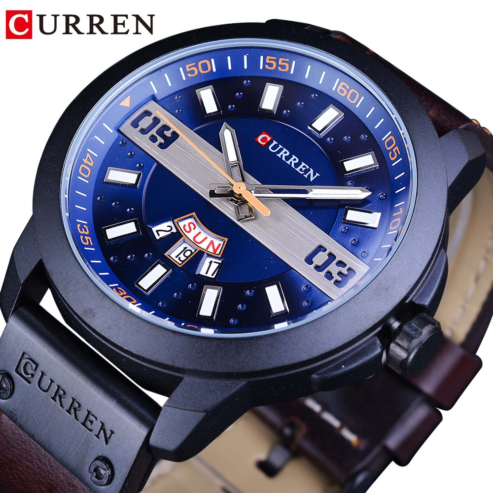 CURREN Blue Dial Design Genuine Leather Belt Military Fashion Waterproof Mens Sport Wrist Watch Analog Relogio Masculino