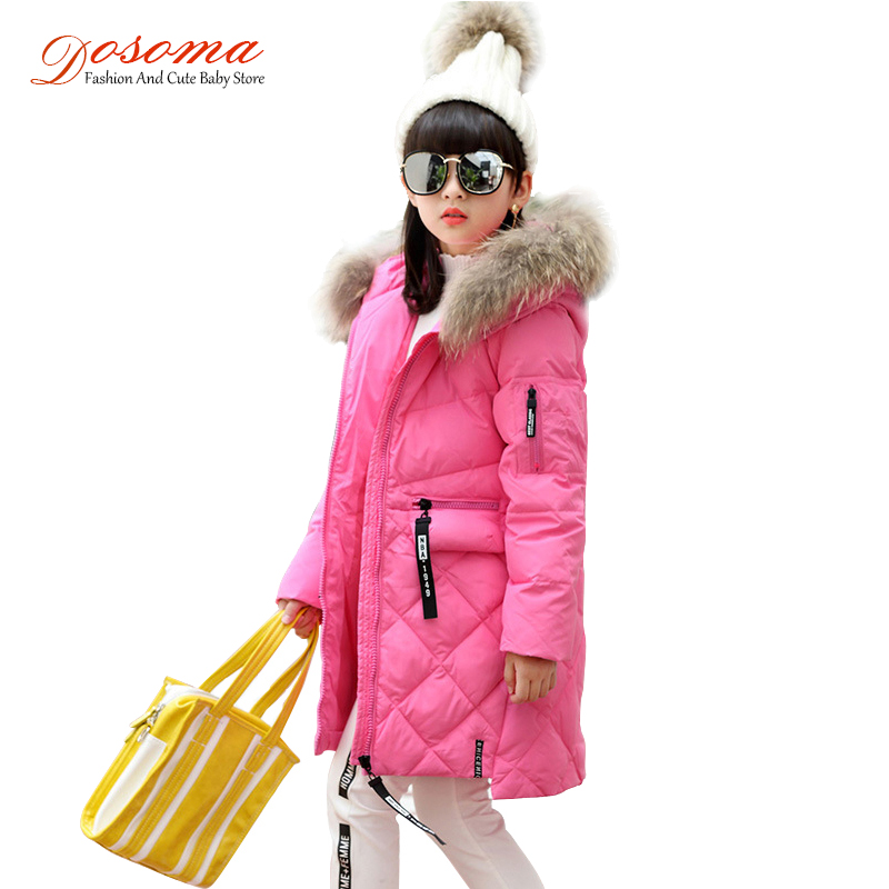 Dosoma fashion winter jacket girl down jackets long warm fur coats kids baby duck feather jacket children outerwearsr -30 degree fashion girl winter down jackets coats warm baby girl 100% thick duck down kids jacket children outerwears for cold winter b332