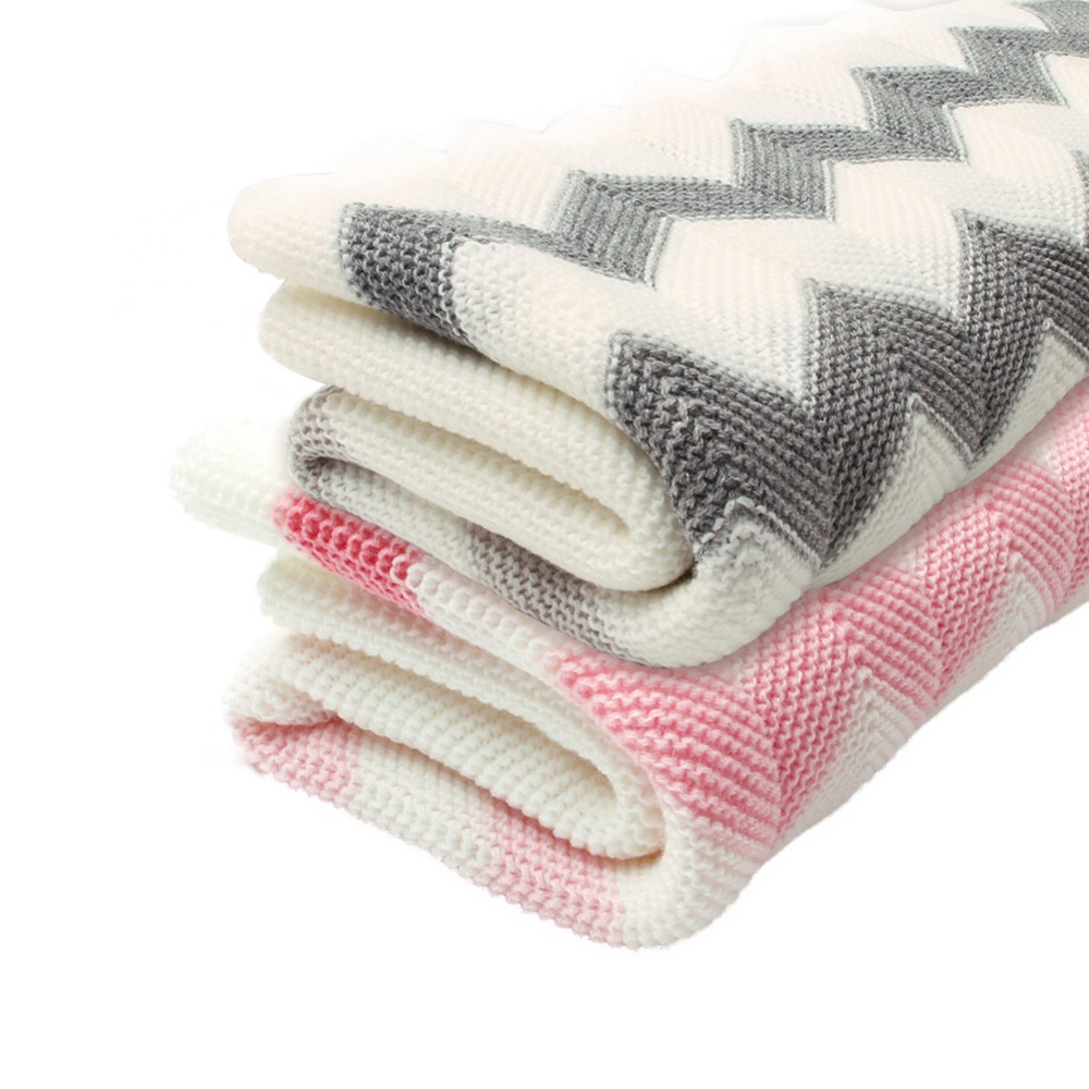 Childrens Rhomboids Knitting Blanket Toddler Baby Wave Knitted Blanket For Boys And Girls (Pink-Wave)