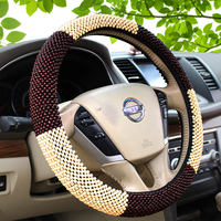 Wooden beads car steering wheel cover set high grade wooden car set antiskid breathable pure manual weaving car cover