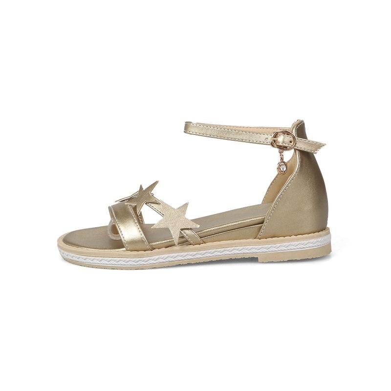Étoiles Doratasia D'été Femme Basse 2019 Doux Appliques forme Chaussures Plate Taille 33 Sandales Grande Femmes argent 43 Talons Or rrZ5AMqa4