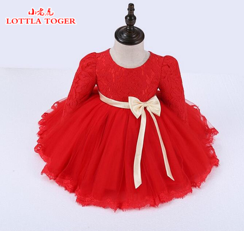 Top Quality Winter Red Lace Girls Dresses Plus Velvet Princess Flower Girl Dresses Long Sleeve Baby Formal Wedding Party Dresses