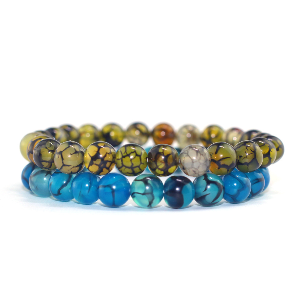Male and female couple beaded bracelet fashion blue yellow dragon agate bracelet jewelry Шорты