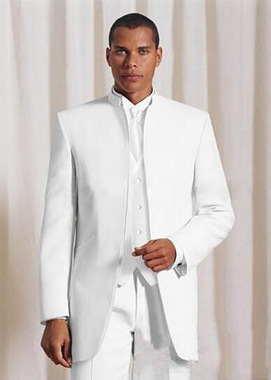 Neue Design Morgen stil weiß Bräutigam stehen kragen Smoking Trauzeugen männer Hochzeit Anzüge Beste mann Anzüge (Jacke + hosen + weste + Krawatte)-in Anzüge aus Herrenbekleidung bei  Gruppe 1
