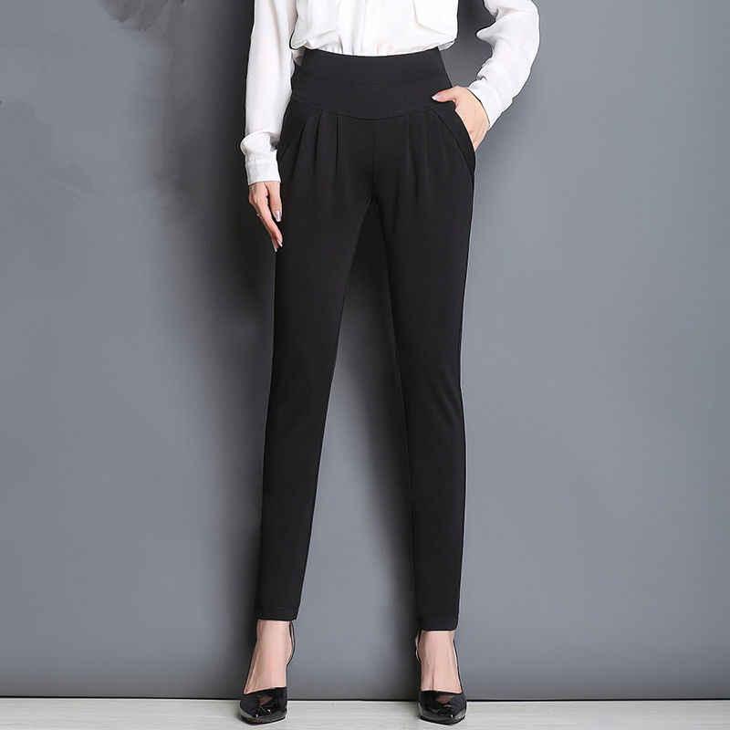 Fsdkfaa kadın Ilkbahar sonbahar Pantolon Moda Tam Boy Cep Artı boyutu 6XL Kadınlar Gevşek Elastik Gündelik Iş Elbisesi harem pantolon