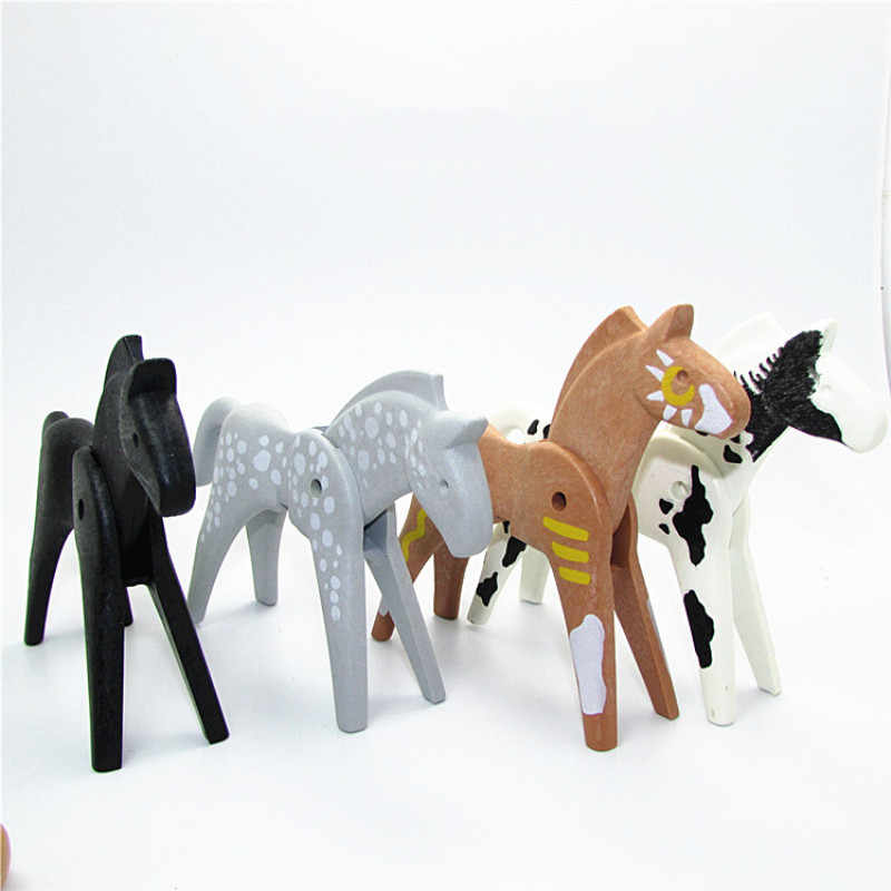 1 peça playmobil modelo animal urso gato panda cão cavalo figuras animais pequeno figura de ação crianças brinquedos educativos para crianças