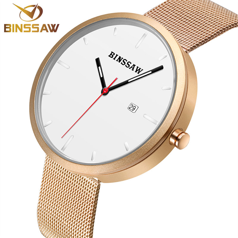BINSSAW nouveaux hommes montres Top marque de luxe étanche horloge en acier bracelet montre à quartz décontractée poignet Sport montre relogio masculino