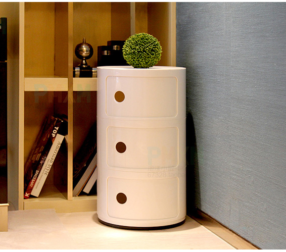 Modern Design Popular Plastic Round Big Classic Plastic Storage Cabinets  Push Door Round Storage With Drawer