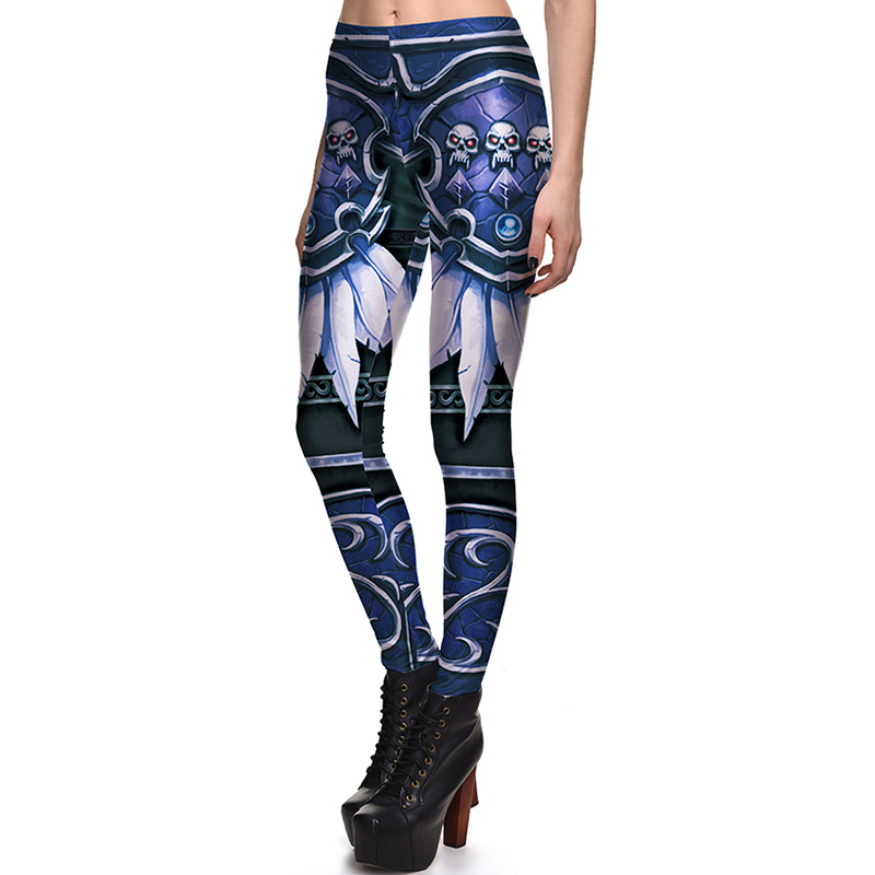 New 3803 Sexy Girl Horde Feather Skull WOW Game Cosplay Printed Elastic Fitness Polyester Workout Women   Leggings   Pants Plus Size