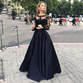 NewTrend 2 Pieces Prom Dresses 2017 Fashion Satin Lace Long Sleeves Edgy Prom Gowns dress for graduation robe de bal