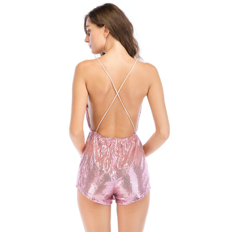 MUXU PINK sequin jumpsuit europe and the united states jumpsuits rompers suspender backless short jumpsuit women body mujer 2018