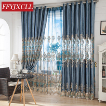 Beautiful Half Shading Home Modern Curtains For living Room Bedroom Window Floral Embroidered Tulle Drapes Decoration