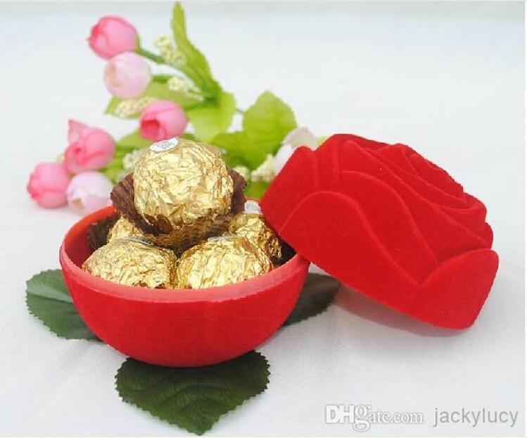Mode classique européenne rouge Rose velours chocolat bonbons boîtes pour mariage faveur fournitures 30 pièces lot livraison gratuite