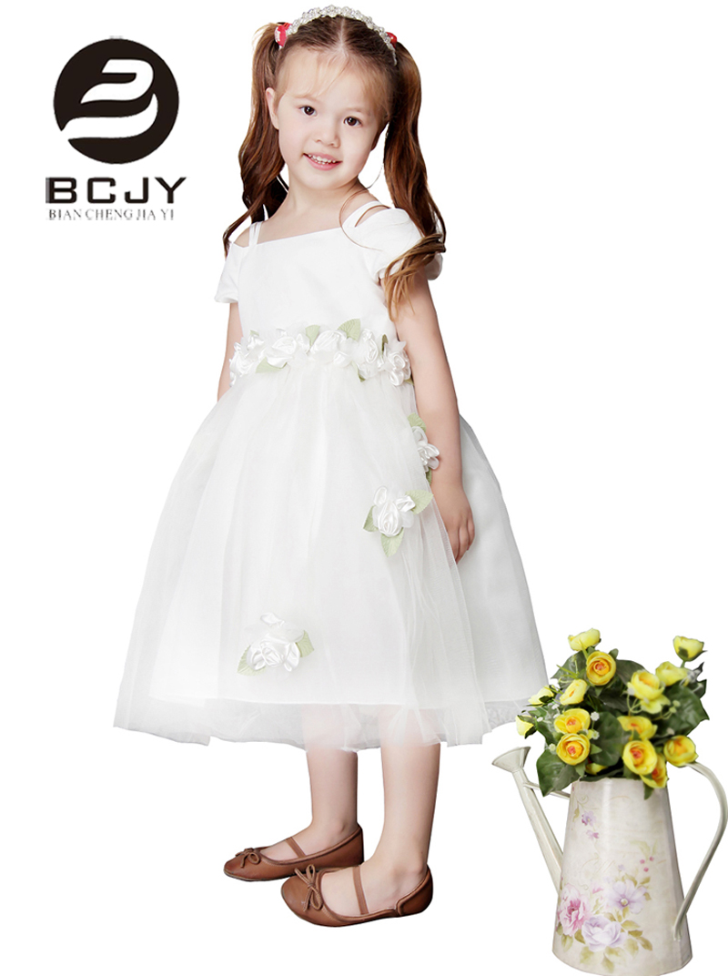 2019 Lovely Blush Pink Tulle   Flower     Girl     Dresses   Spaghetti Straps with Sashes 3D   Flower   Appliques Bow A Line Pageant   Dresses