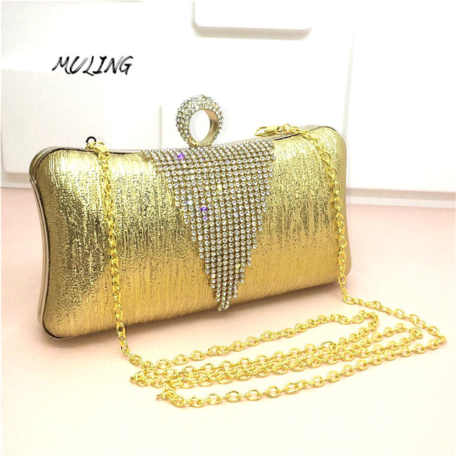 Triangle Clutches Bag Women Luxury Diamond Long Wedding Party Bags Crossbody Handbags Lady Evening Shoulder