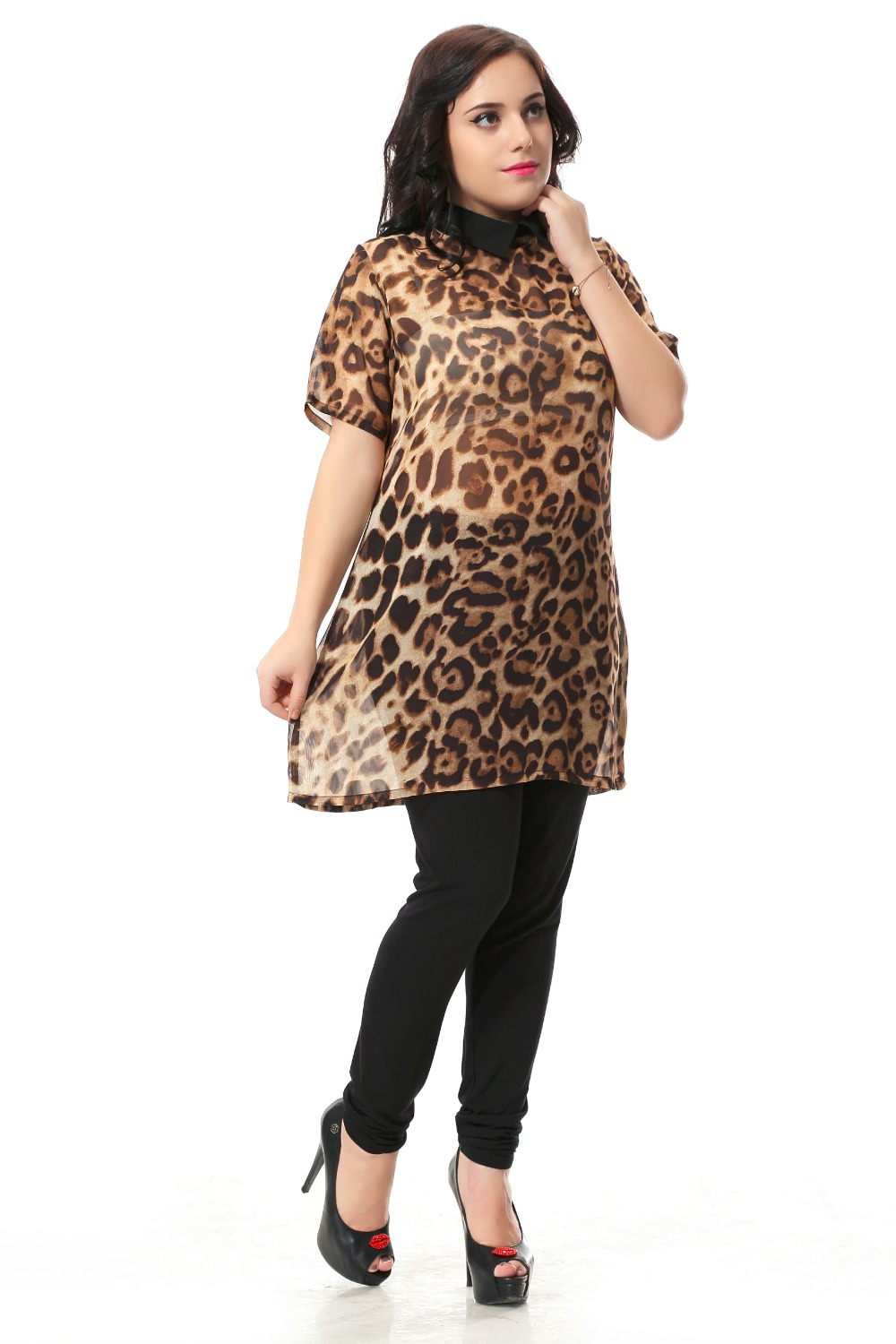 Plus Size Leopard Printed Dress Women With Hollow Out Design Sexy