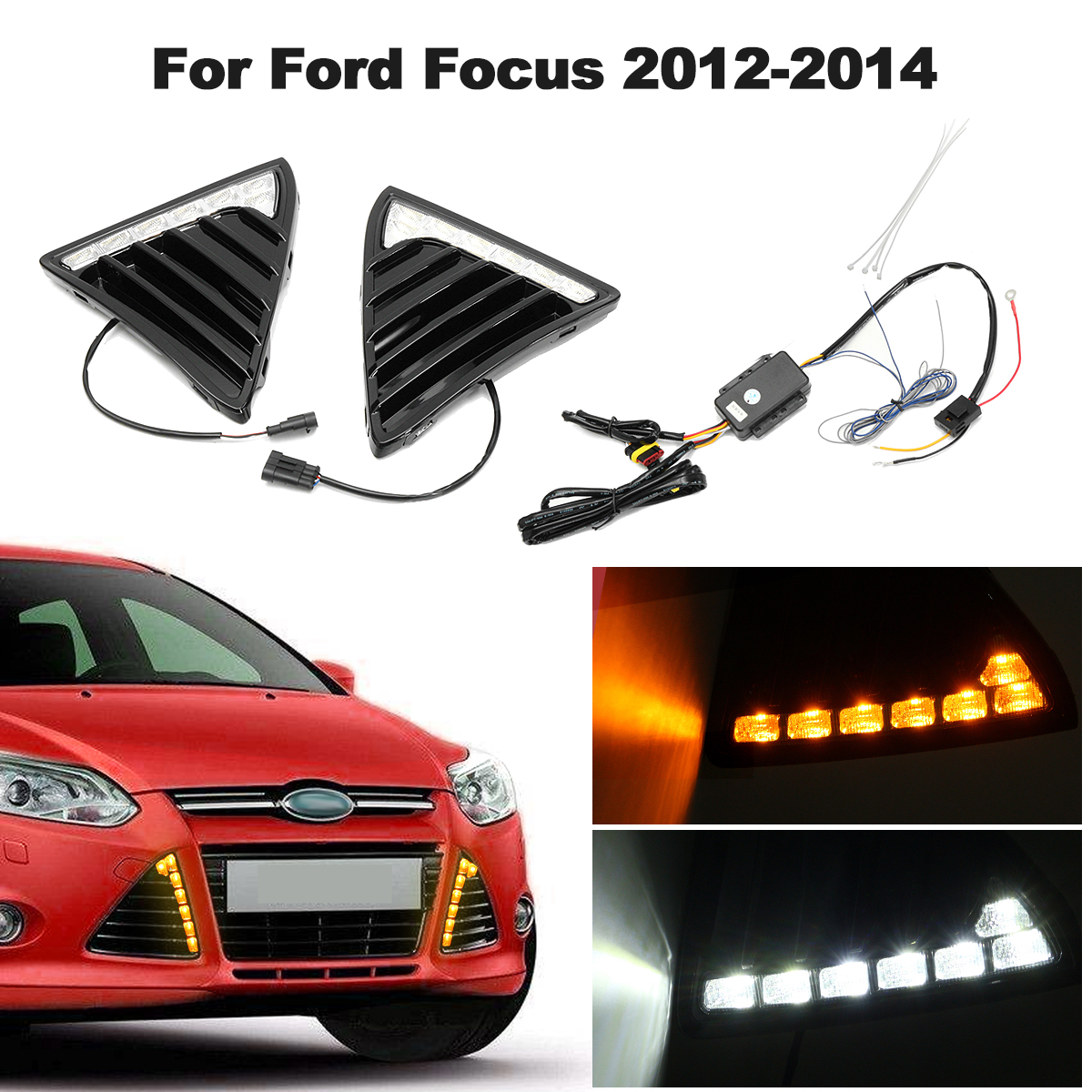 For Ford for Focus 2011 2012 2013 2014 Pair 12V Car LED Daytime Running Light Fog Lamp DRL Waterproof White Light New new dimming style relay waterproof 12v led car light drl daytime running lights with fog lamp hole for mitsubishi asx 2013 2014