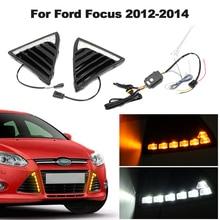 Пара автомобиля 12 V светодиодный дневного света противотуманных фар DRL Водонепроницаемый белый свет новый для Ford Focus 2011 2012 2013 2014