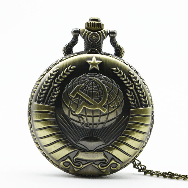 4 Colors Vintage Bronze New Soviet Sickle Hammer Style Quartz Pocket Watch Men W