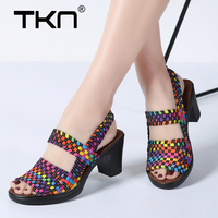 Women Heel Sandals Shoes Summer Woman Wedges Platform Sandalias Stretch Fabric Shoes Slingback High Heels Pumps Shoes Woman 801