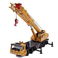Alloy engineering vehicle model long arm large crane simulation children's toy crane truck forklift roller bulldozer car model 1 50 high simulation alloy crawler crane truck toy car mini diecast engineering crane car model for children enduction toys gift