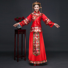 New Arrival Red Chinese Bride Dress Women Suit Blouse + Skirt Chinese Bride Cheongsam Free Shipping 16