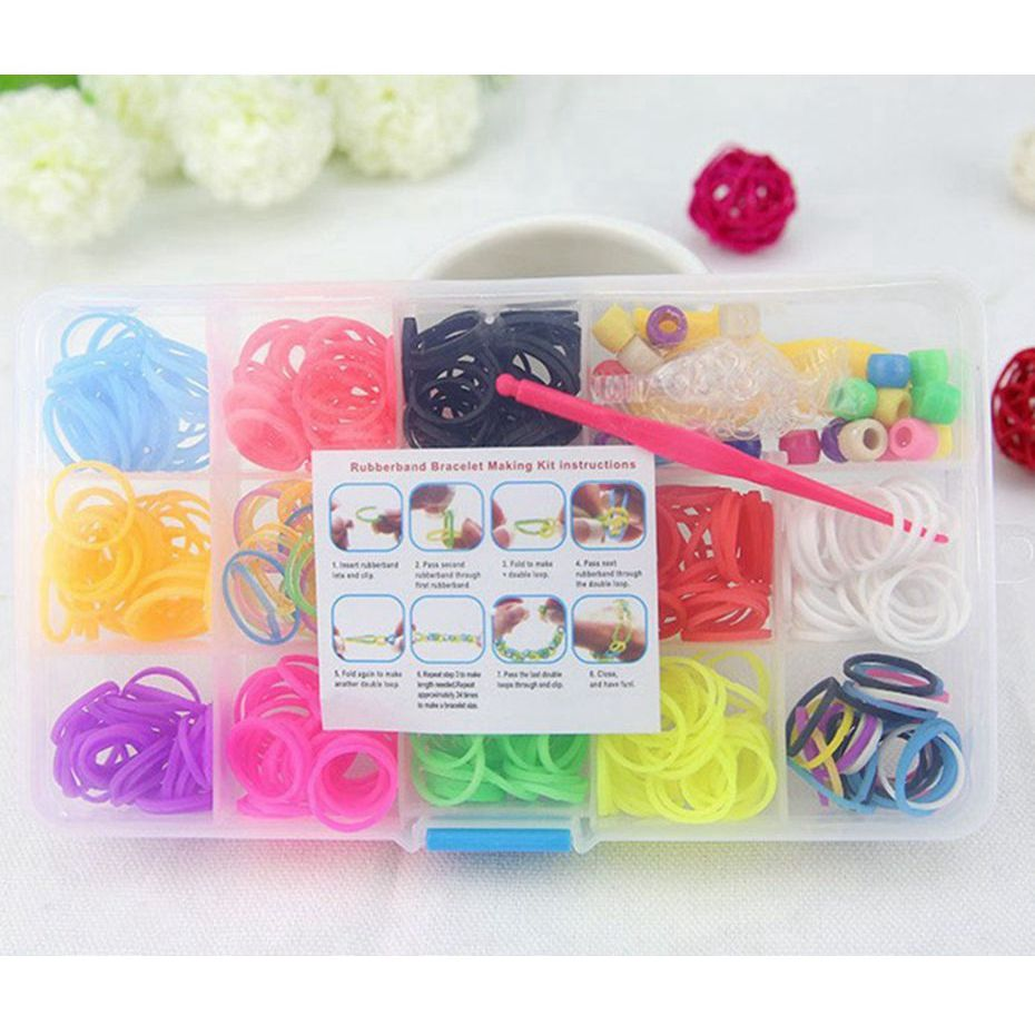 FEPITO 2000 Pcs Loom Rubber Bands S Clips Plastic Band Clips Connectors Refills Kit Clip for Loom Bracelets DIY Making Clear