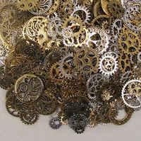 50g (32 pcs) aleatória mista Encantos Roda Da Engrenagem do Metal de Bronze Antigo Movimento Steampunk Retro Engrenagem DIY Pingentes Jóias Acessórios