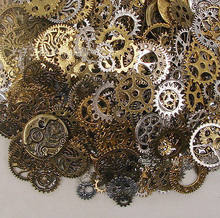 50g (32pcs ) Mixed Random Metal Gear Charms Wheel Antique Bronze Steampunk Movement Retro DIY Gear Pendants Jewelry Accessories(China)