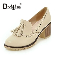 DoraTasia Size 34-39 Fashion Women Chunky Heels Tassle Spring Autumn Shoes Round Toe Platform Slip On Platform pumps
