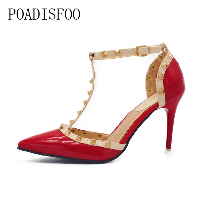 Sexy Pumps Rivet Sandals High-Heeled Pointed-Toe Plus-Size New Cutout Red 41 .XL-868