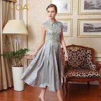 VOA Vintage Silver Gray Plus Size Silk Jacquard Pleated Dresses Sleeveless Slim Women Maxi Long Runway Dress Elegant Fall A6525