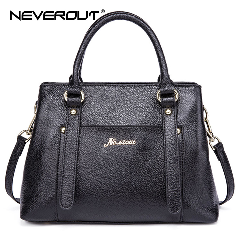 NeverOut Real Leather Brand Bag Woman Handbags Solid Style Business Shoulder Sac Ladies Top-Handle Bags Lady Casual Tote Handbag neverout oil wax style split leather bag for women vintage boston bag shoulder sac 3 color handbags tote zipper tote new handbag