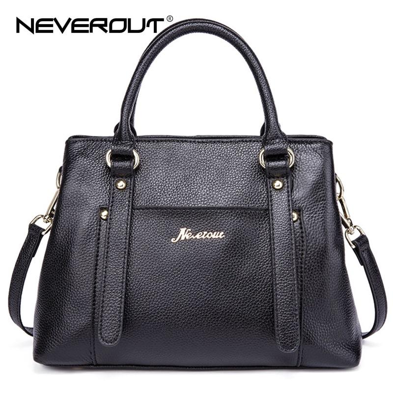NeverOut Real Leather Brand Bag Woman Handbags Solid Style Business Shoulder Sac Ladies Top-Handle Bags Lady Casual Tote Handbag neverout brand name shoulder bag sac