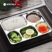 WORTHBUY 304 Stainless Steel Snack Plate For Canteen Restaurant Food Container Bento Lunch Box Kids Dinner