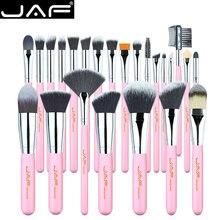 JAF 24 قطعة الوردي ماكياج فرش العليا لينة الاصطناعية الشعر الجلد ودية المهنية يشكلون وظائف كاملة فرشاة مجموعة J2420Y P
