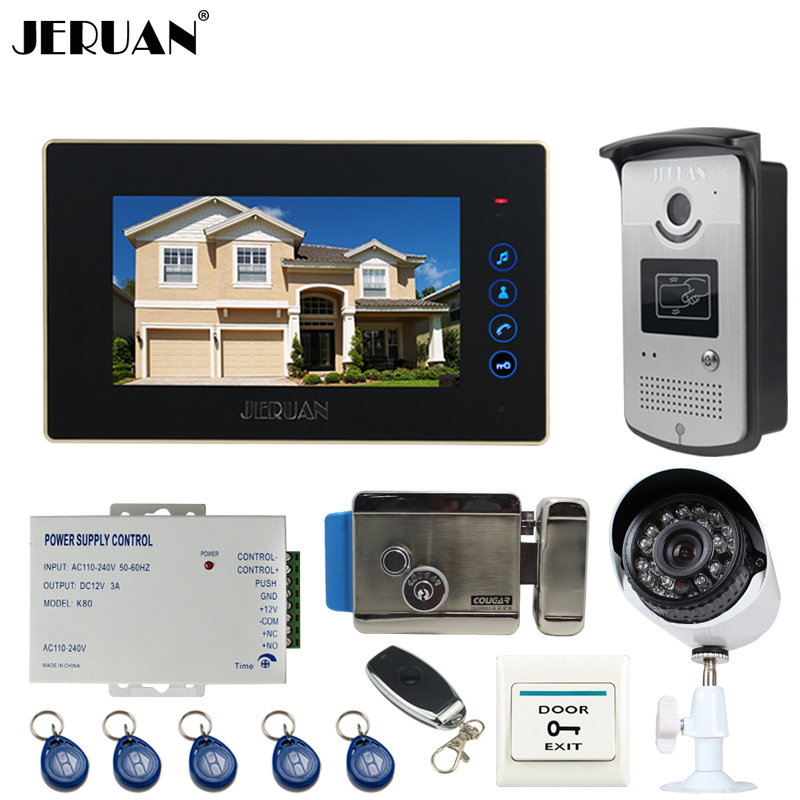 JERUAN Wired 7``  Touch key Video Door Phone intercom System kit RFID Access IR Night vision Camera + 700TVL Analog Camera