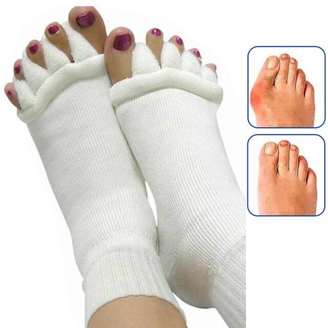 1 par de calcetines de cinco dedos separadores ortopédicos para dedos Corrector ortopédico Hallux Valgus corrección de postura ectropión