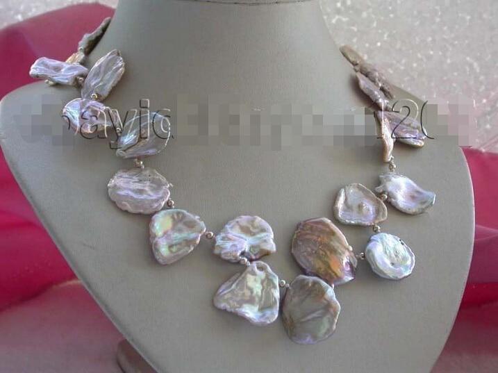 > 17 из натуральной 23x28 мм фиолетовый Reborn Кеши лепесток жемчужное Цепочки и ожерелья 14kgp # f1585!