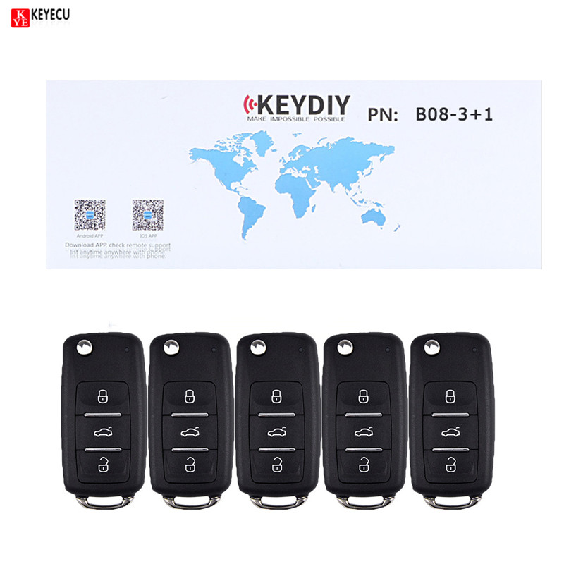 Keyecu 5pcs lot Universal Remote 3 1 Button B Series for KD900 KD900 URG200 KEYDIY Remote